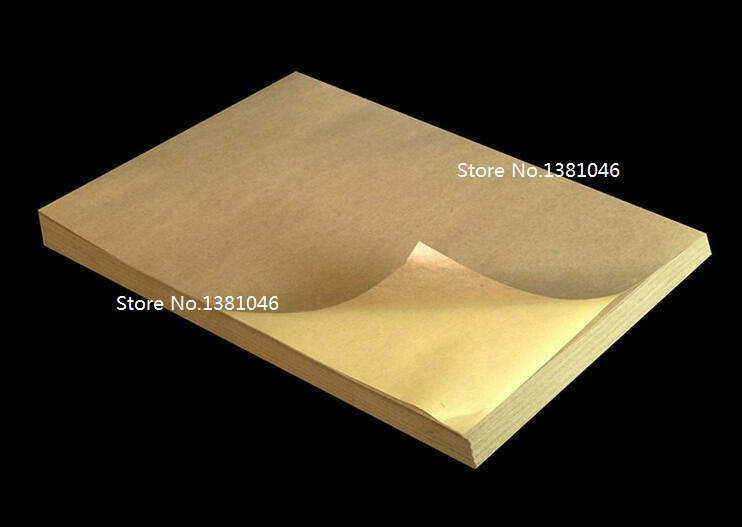 10 pcs A4 Kraft Self Adhesive Brown Blank Paper Stickers Labels Plain Decal 210mm x 297mm(China (Mainland))