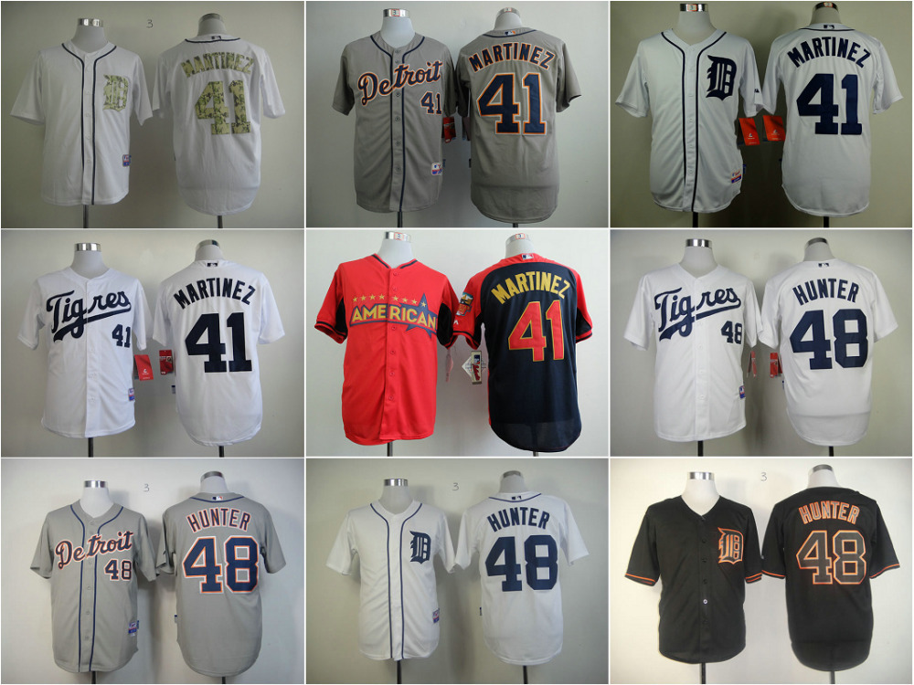 Detroit Tigers Jersey 41 Victor Martinez 48 T Hunter 35 Justin Verlander 24 Miguel Cabrera gray/black/white throwback jerseys<br><br>Aliexpress