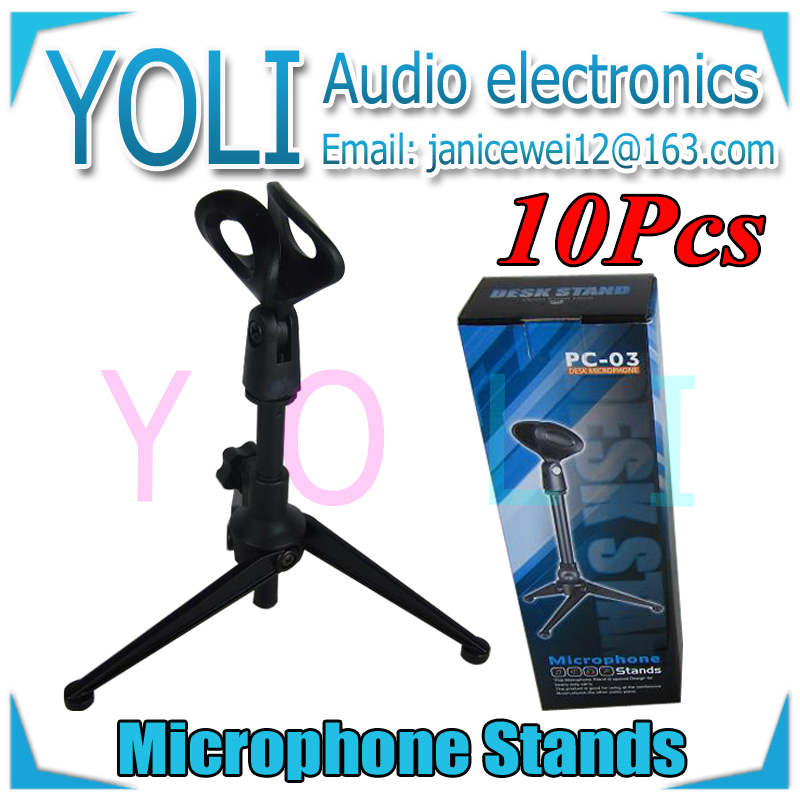 English Retail Box !! Wholesale 10Pcs/lot Adjustable Height Desktop Tripod Microphone Stand Iron Mic Desk Stand For SM57 Beta58A(China (Mainland))