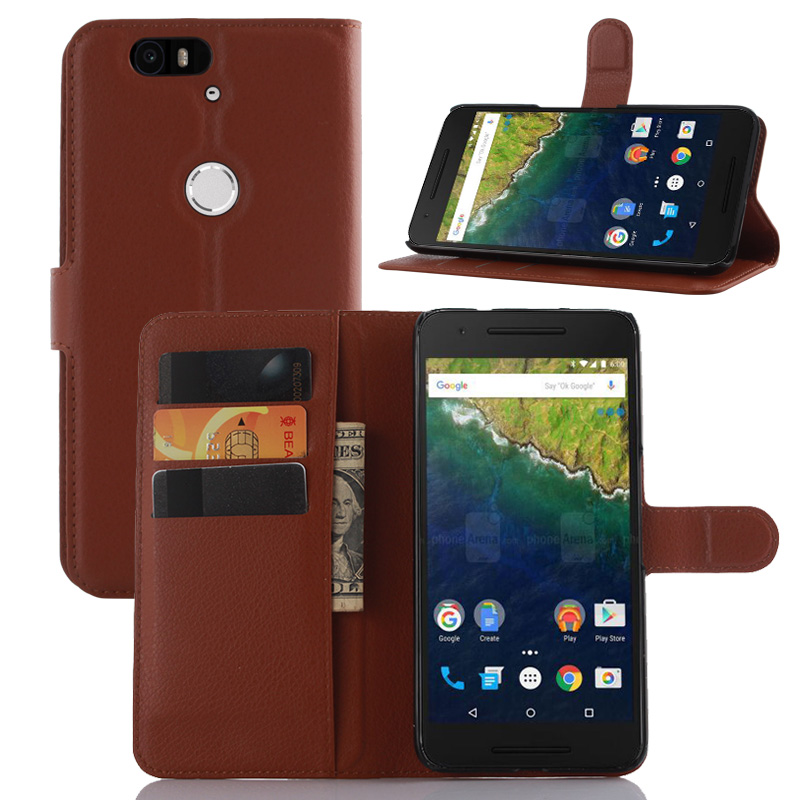 Huawei Nexus 6P case luxury 9 colors litchi texture leather case for Huawei Nexus 6P flip cover case wallet style with card slot