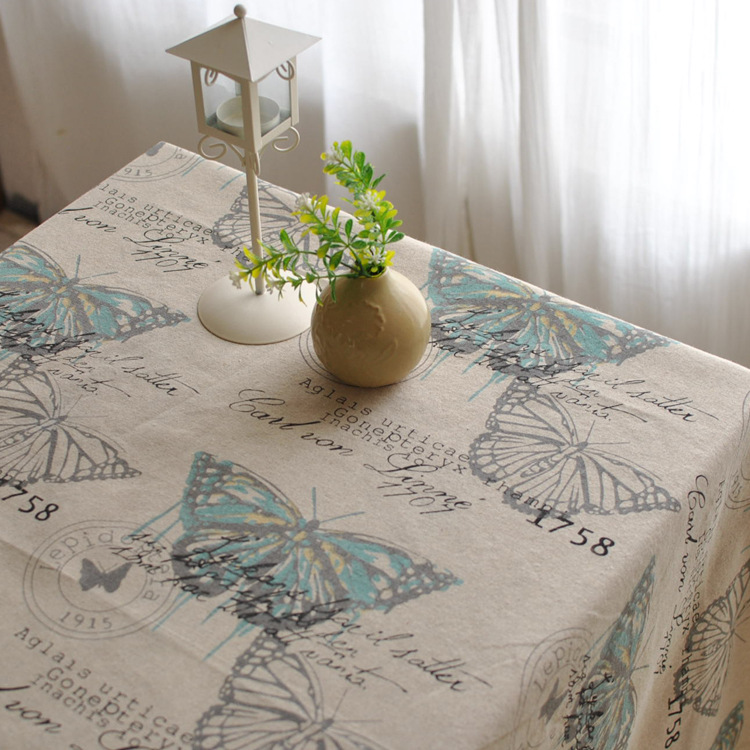 American country printing white linen tablecloths table cloth tablecloth table cloth dust cloth sofa cover new(China (Mainland))