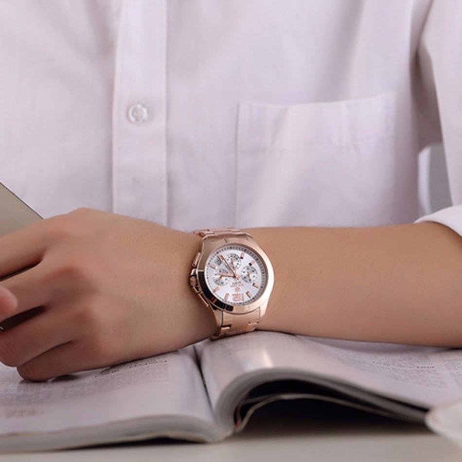 MEGIR Женщин Или Мужчин Кварцевый Хронограф Часы из Розового Золота Стальной Браслет Ремешок Смотреть Водонепроницаемый Моды Женщин Платье Часы ML5006