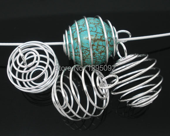 1000 Free shipping Hot New DIY Wholesales Silver Plated Spiral Bead Cages Pendants Jewelry Charm Component Findings 20x25mm<br><br>Aliexpress
