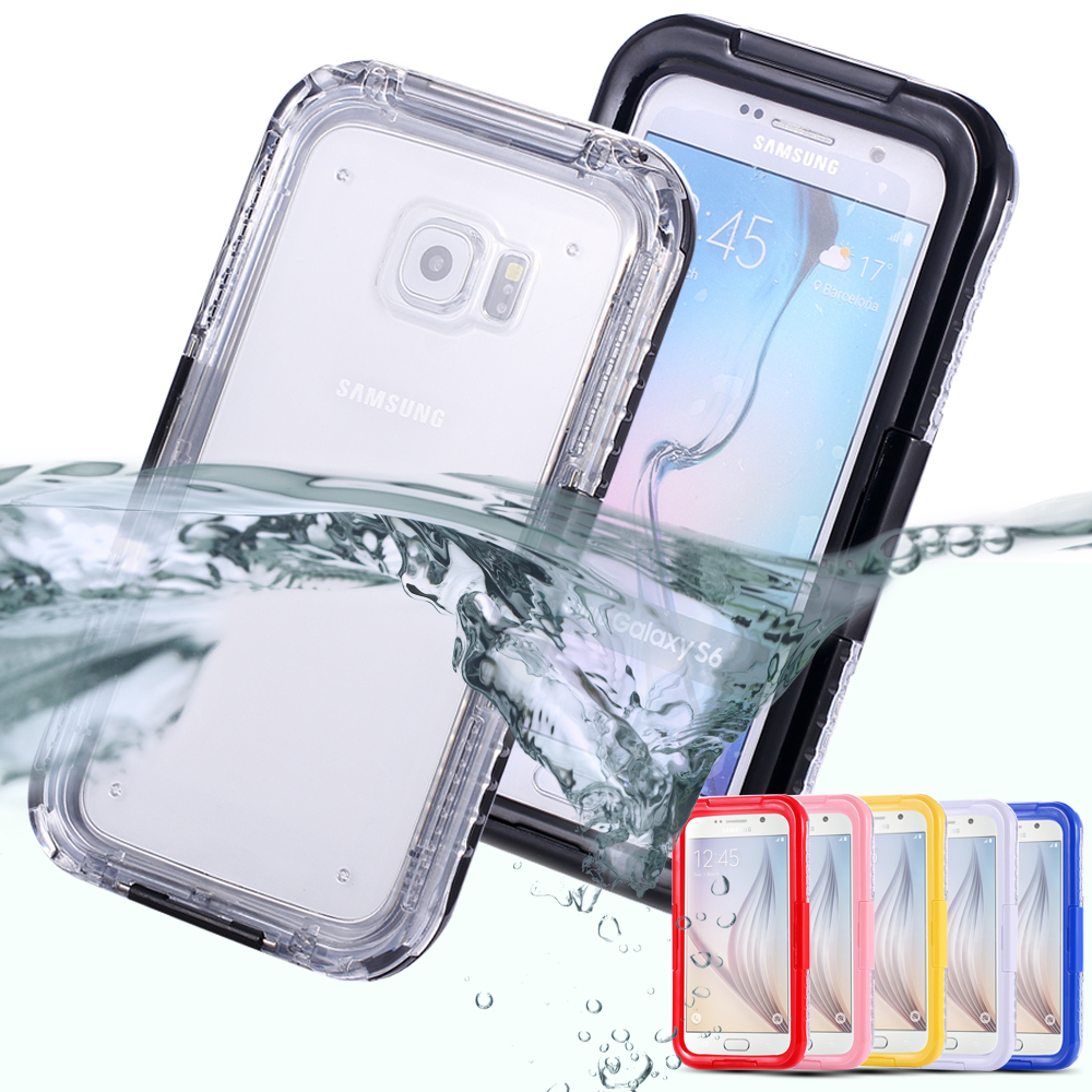 General Waterproof Case For Samsung S6 /S6 Edge Soft Transparent Back Candy Frame Swimming Phone Cover For Galaxy S6 & S6 Edge(China (Mainland))