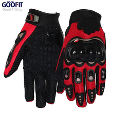 2015 New Brand Design GOOFIT Full Finger Red Sports Motorcycle Bicycle Gloves Breathable Mesh Fabric Slip Glove MCS-01D
