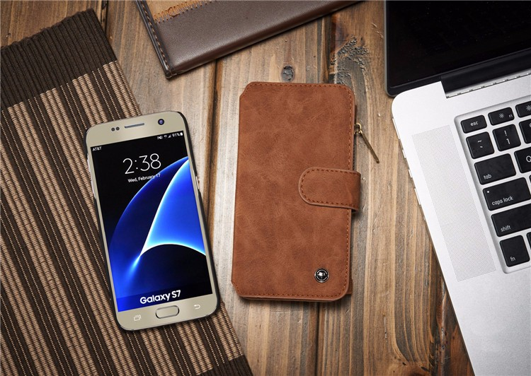Multi-functional Back Cover Multi-Cards Holder Wallet Vintage Leather Case for Samsung Galaxy S7 S7edge Phone Accessories
