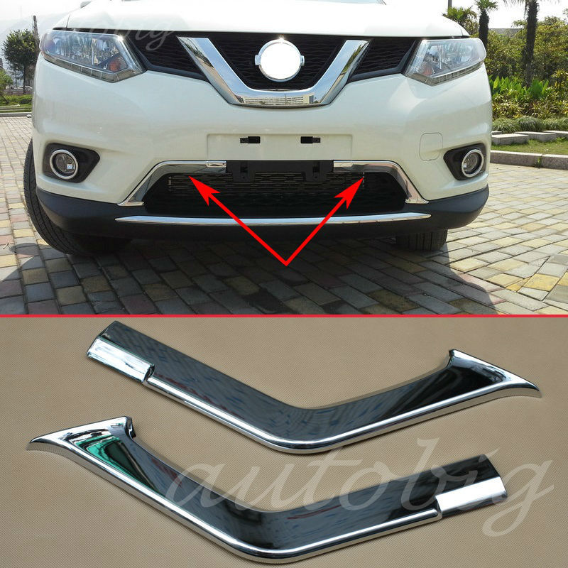 buy chrome bumper front lower grille grill air cover trims for nissan x trail. Black Bedroom Furniture Sets. Home Design Ideas