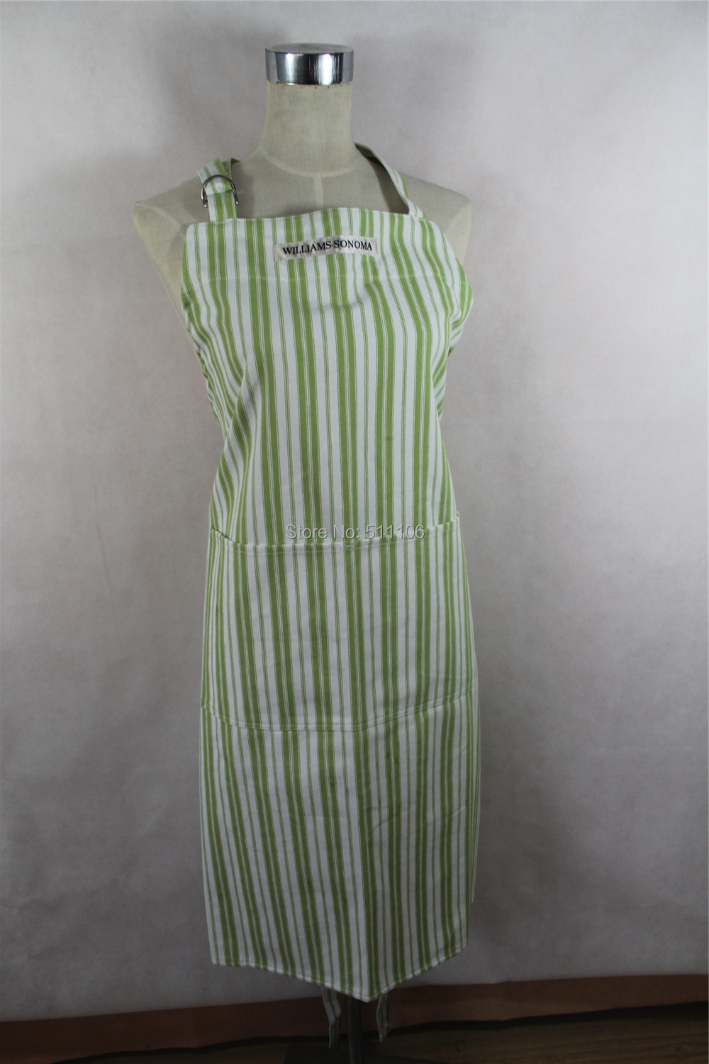 High Quality Green Striped Cotton Cooking Apron/Waiter Apron Wholesale(China (Mainland))