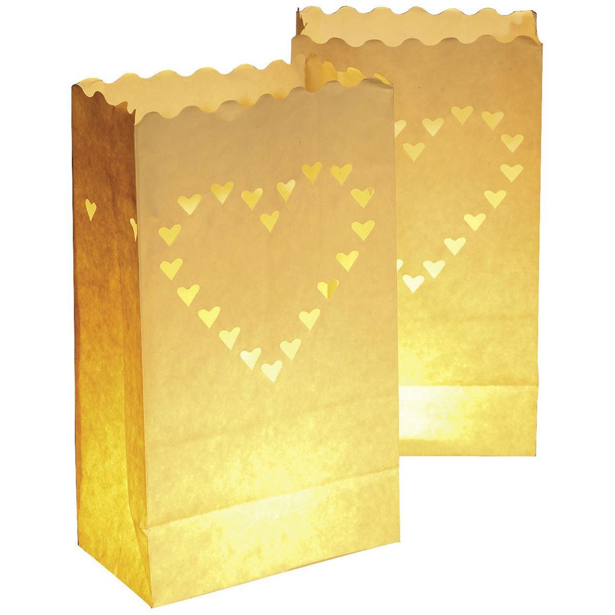 10pcs Novelty Heart Shaped Luminary Tealight Candle Bags Luminaria lantern bag party wedding decorations(China (Mainland))