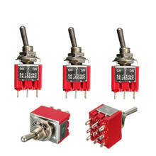 5Pcs 3PDT ON/OFF/ON 9Pin Mini Toggle Switch 6A 125VAC/2A 250VAC Electric Guitar Circuit Selector Switch Popular(China (Mainland))