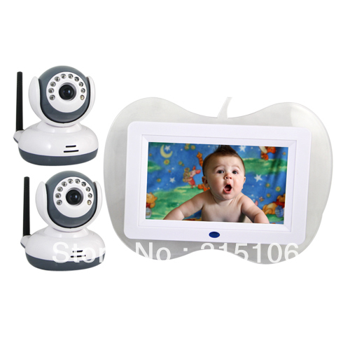 """Free Shipping 2 x Camera 2.4GHz 4 Channel 7"""" LCD Wireless Receiver Video Cam Baby Care Monitor(China (Mainland))"""