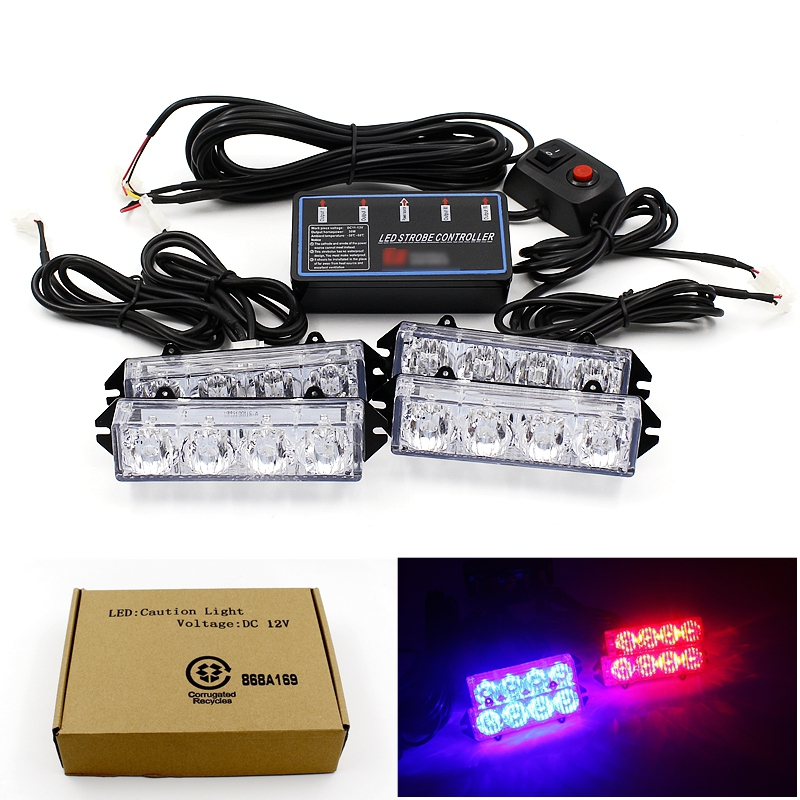 Multiple Modes 16 LED Strobe Flash Warning Car Lights Styling Red Blue Fireman Police Emergency Lamp For Front Grille Deck Rear(China (Mainland))