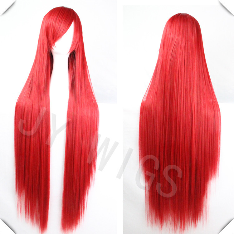 2015 Cosplay 100CM Long Straight Wig Lady Hair Blonde Party Wig For Lady Hair Style Costume RED(China (Mainland))