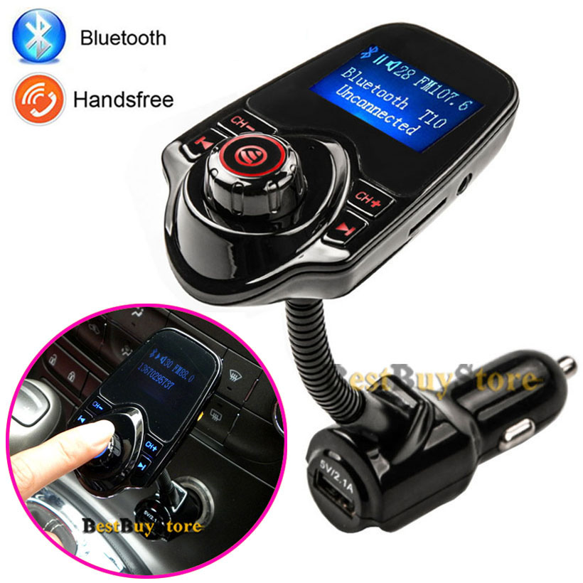 2016 Super Bluetooth Car Kit Handsfree Set FM Transmitter MP3 music Player 5V 2.1A USB Car charger, Support Micro SD Card 1G-32G(China (Mainland))