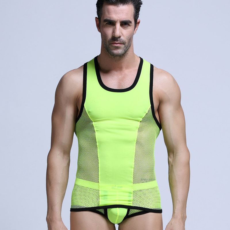 tank top men set mew arrival 2016 fashion sexy gay male shorts Cute suit underwear Mesh undershirts vest sports bodybuilding(China (Mainland))