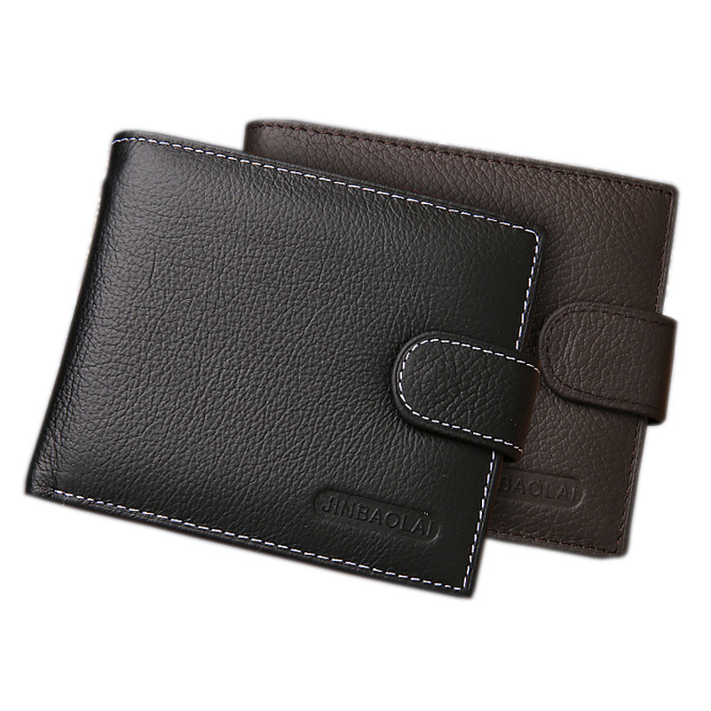 Genuine Leather Wallet Men Clip Cowhide Wallet Men 2016 Brand Coin Wallet Small Clutches Men's Purse Coin Pouch Short Men Wallet(China (Mainland))