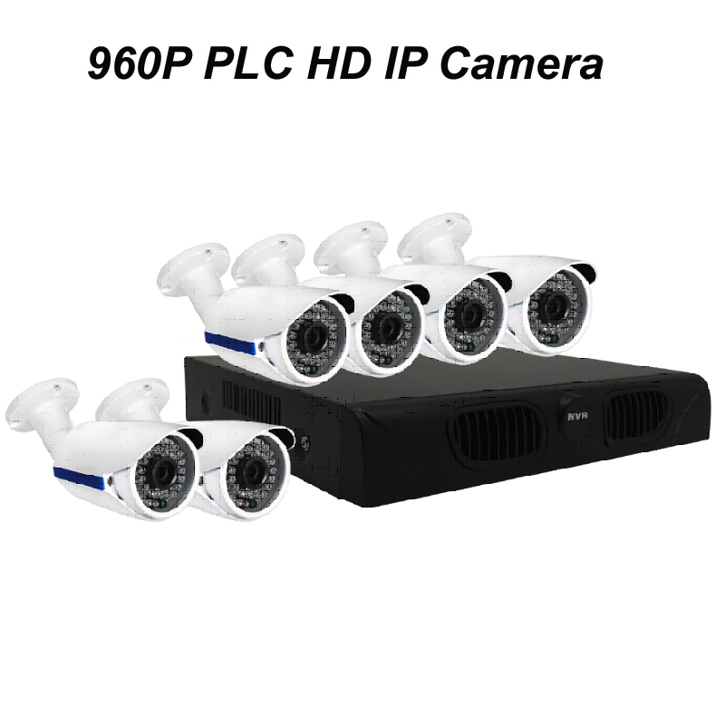 6pcs of 960P PLC HD IP Bullet Camera with 1080P NVR DIY Kit with Power Line Communication & P2P Cloud Server & Free APP for Live