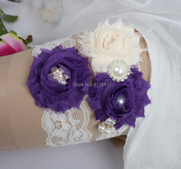 расцветшего белый синий потертый кружева для новобрачных подвязки цветок свадьба ноги подвязки невесты Аксессуары для свадьбы ручной работы