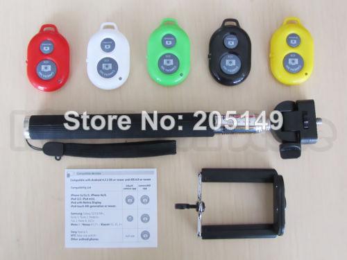 Extendable Handheld Camera Tripod Mobile Monopod+Bluetooth Remote Camera Control free shipping(China (Mainland))