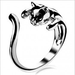 Cute Silver Cat Shaped Ring With Rhinestone Black Eyes Adjustable and Resizeable(China (Mainland))