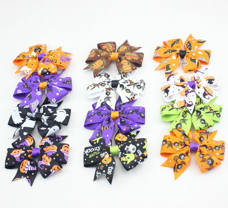 New Halloween Hair Bow with Clip for Girl and Women Hair Accessories Large Boutique Halloween Bow Clip for Party Decor 30pcs/lot(China (Mainland))