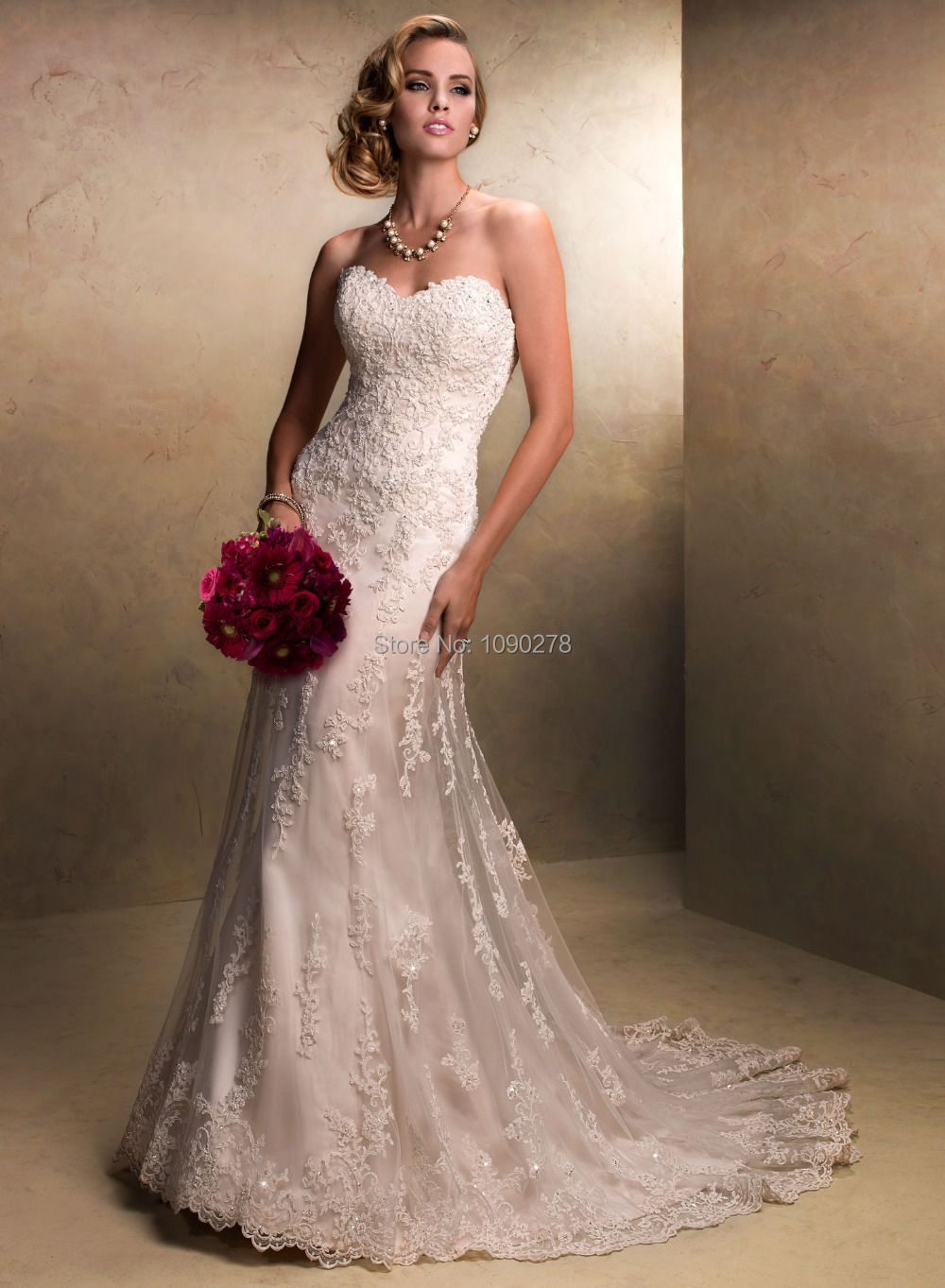 Designer New Ivory Lace Applique Sweetheart Removable Straps Sequin 2015 Wedding Dress Mermaid(China (Mainland))