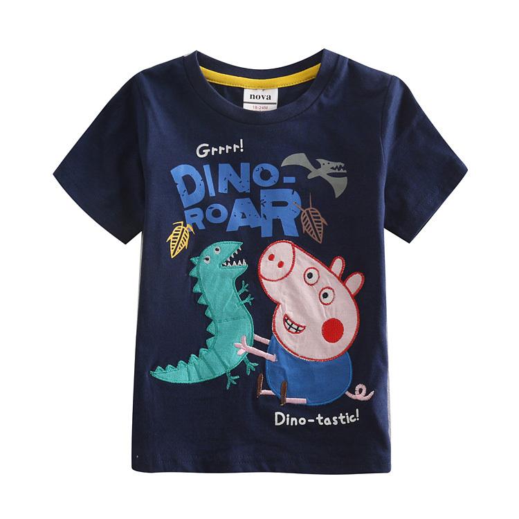 Boy summer t shirt children cartoon pig 100% cotton t shirt for boys nova kids t shirt for boys summer style children clothing