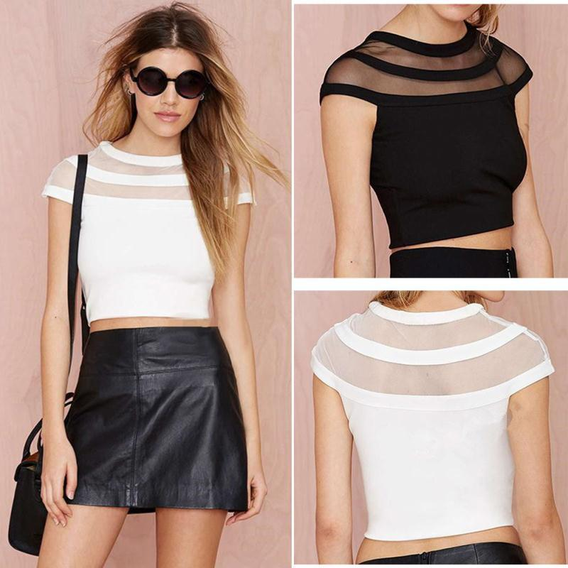 2016 Sale Crop Top Cropped Bustier Tops Perspective Wave Pattern Sexy Lace Shirt Collar Half Lo Shi Short Paragraph Slim Vest(China (Mainland))