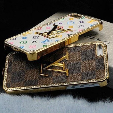 Luxury Sparkling Bling Crystal Diamond Leather Case For iPhone 5 Leather Chrome Metal Cover For Mobile Phone EMS Free Shipping