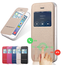 Luxury Front Window View Leather Case for iPhone 5 Phone Accessories Caso Capa For Apple iPhone 5s Flip Stand Cover