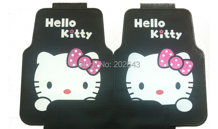 FC002 Hello kity Car floor mats Carpets with pvc waterproof anti-slip mat 68*52cm pad pedals sticky pad for silica gel(China (Mainland))