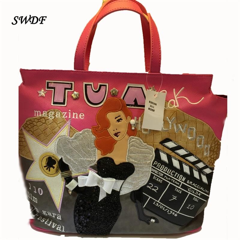 SWDF-Embroidered Luxury Handbags women Bags PU kores Ostrich hand bag Ladies Elegant Shoulder Emoticon Soft bag lady SAC a main(China (Mainland))