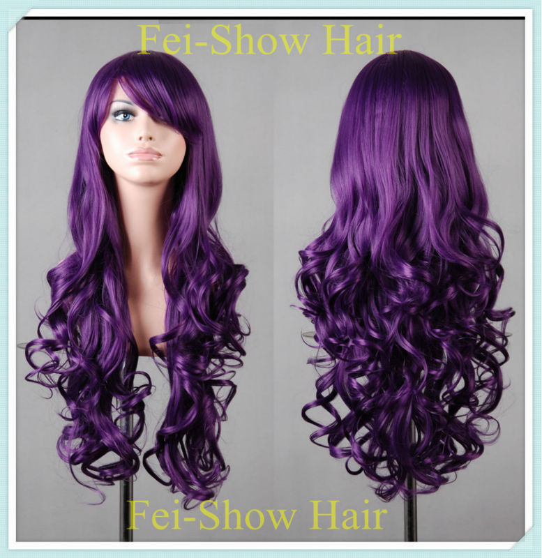80CM Long Synthetic Cosplay Purple Curly Harajuku Anime Cosplay Hair Wig(SJ8803PUR+1 Cap Wig) with 8 Inches Bangs(China (Mainland))