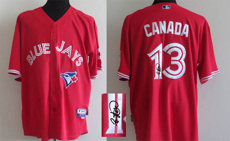 Toronto Blue Jays Jersey Signature Edition #13 Canada Red Cool Base Baseball Jersey Embroidery And Stitched,Mix Orders(China (Mainland))