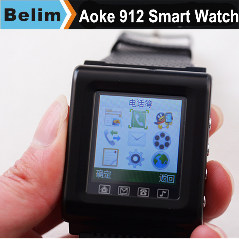 """Free Shipping Aoke912 Smart Watch 1.44"""" LCD Camera FM radio Handsfree GPRS/SMS bluetooth watch Micro SD extended(China (Mainland))"""