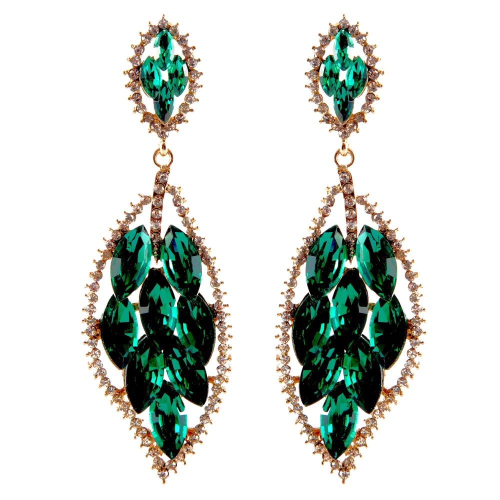 Elegant Charm Leaf Temperament Green Pendant Earrings Dangle earrings Fashion Gold Plated Austrian Crystal Earring Jewelry(China (Mainland))