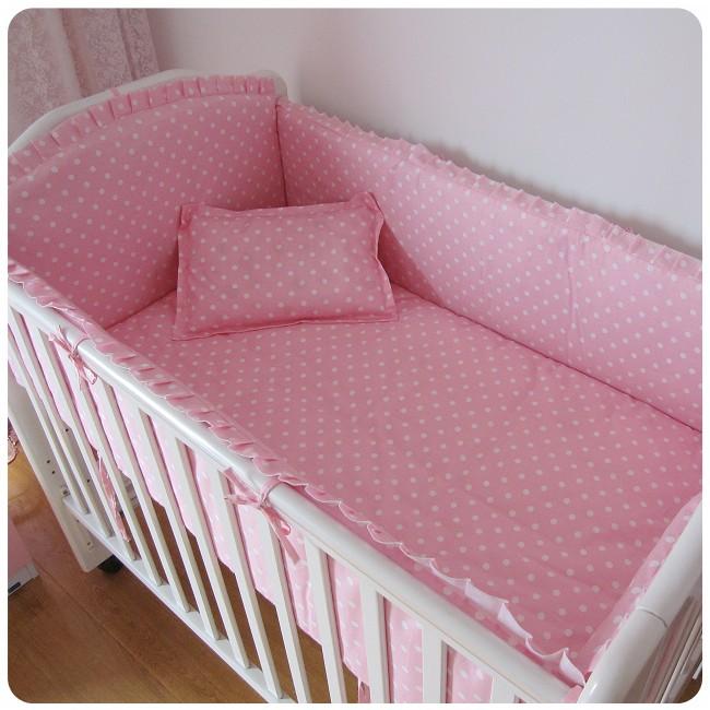 Акция! 6шт розовые точки детское постельное белье набор хлопок Мужской детские детские кроватки постельные принадлежности Бренд кроватку комплект (бампера+лист+наволочка)