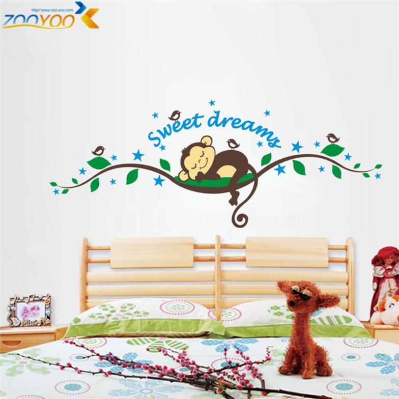 sweet dream cartoon monkey wall stickers for kids room home decorations zooyoo1203 diy bedroom adesivo de parede decal mural art(China (Mainland))