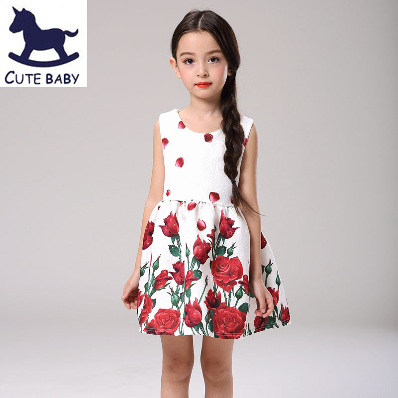 Free Shipping 2016 Summer Style Dresses For Girl Flower Printed Sleeveless Formal Girl Dresses Teenagers Party Dress for baby