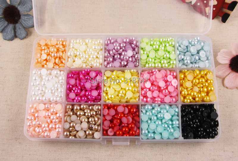 2600pcs mix 15color 6mm Half Round simulated Pearls Flat back Jewelry Garment Accessory Beads DIY 050399(China (Mainland))