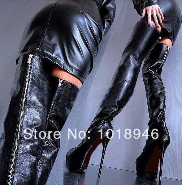 Long Black Leather Boots | Santa Barbara Institute for