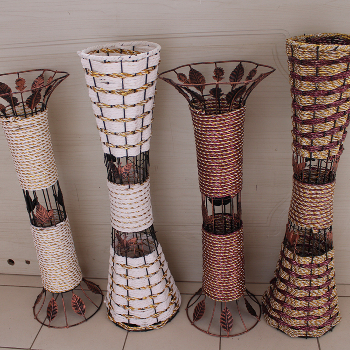 Rattan floor vase dried flowers artificial flower bronze for Decoration vase