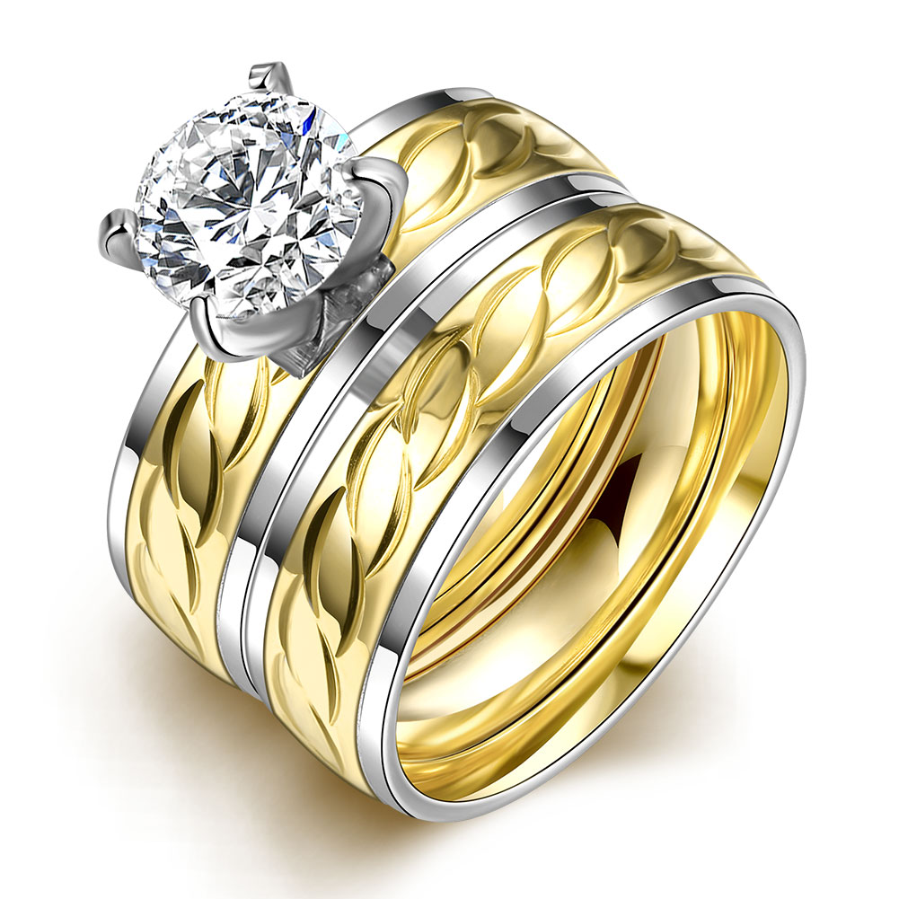 HMJTR042 2016 Korean Style Fashion Personality Double Zircon Ring 316L Stainless Steel Ring 18K Gold Plated Wedding Jewelry(China (Mainland))