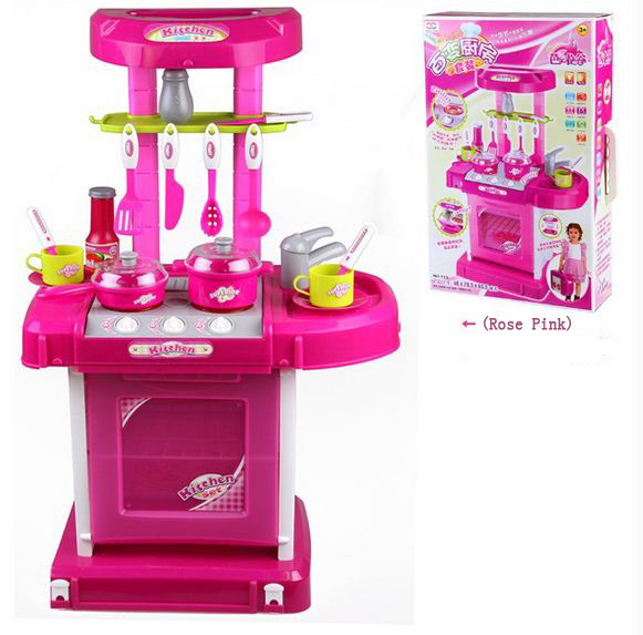 Funny kids Portable electonic kitchen cooking children role play set toy toys for boys and girls gifts educational toys(China (Mainland))