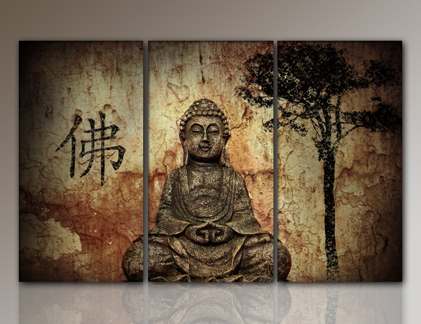 Hd buddha canvas prints modern 3 panels unframed painting home decoration liv - Peinture sur toile bouddha ...