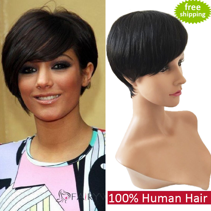 2015 celebrity wig Machine made short wig human hair none lace brazilian hair straight glueless full lace human hair wig(China (Mainland))