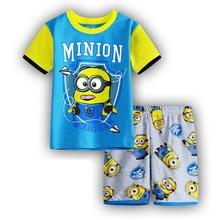 kids spring pajamas New Pyjamas boy girl kids short sleeve pajama set baby minions pajamas sleepwear Despicable Me pyjamas