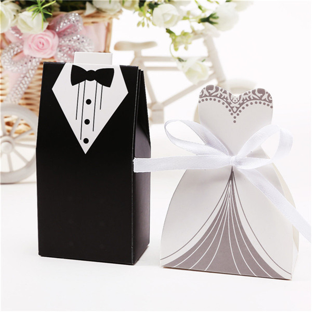 Wedding Party Gifts For Bride And Groom : 100-Pcs-Bride-and-Groom-Wedding-Party-Favor-Candy-Box-Gift-Paper-Boxes ...