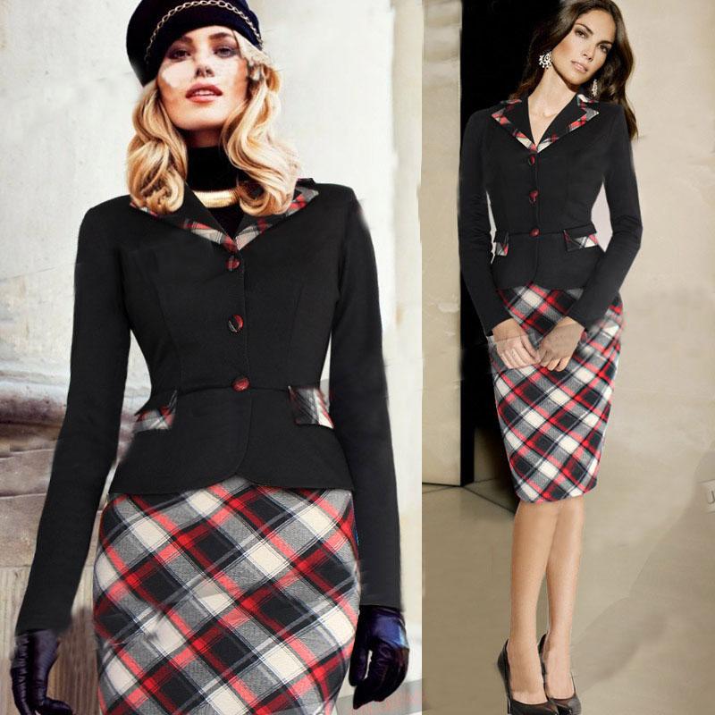 11 11 2016 Womens Vintage Long Sleeve Elegant font b Tartan b font Colorblock Lapel Tunic