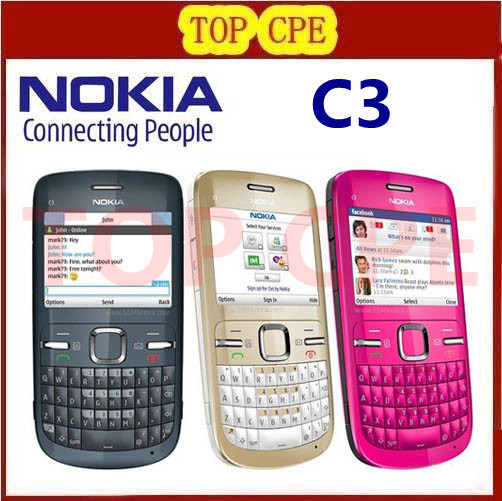Brand nokia C3 Original unlocked nokia C3/C3-00 cell phone WIFI bar one year warranty(China (Mainland))